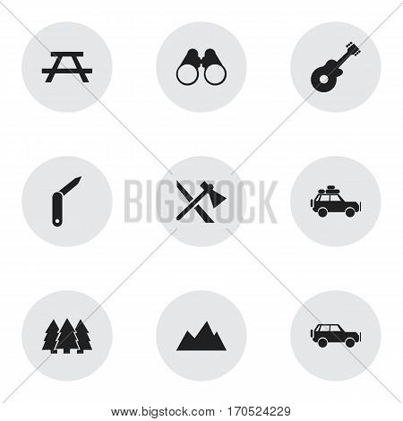 Set Of 9 Editable Camping Icons. Includes Symbols Such As Voyage Car, Field Glasses, Sport Vehicle And More. Can Be Used For Web, Mobile, UI And Infographic Design.