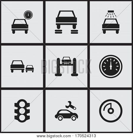 Set Of 9 Editable Car Icons. Includes Symbols Such As Stoplight, Speed Control, Speed Display And More. Can Be Used For Web, Mobile, UI And Infographic Design.