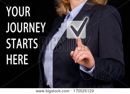 Your journey starts here - Businesswoman with checkbox