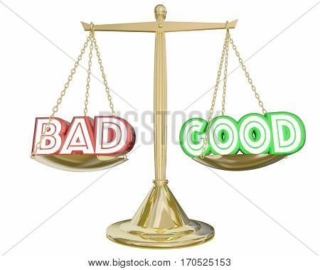 Good Vs Bad Scale Weighing Positive Negative Choices 3d Illustration