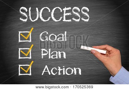 Success - Business concept with checkbox for goal, plan and action