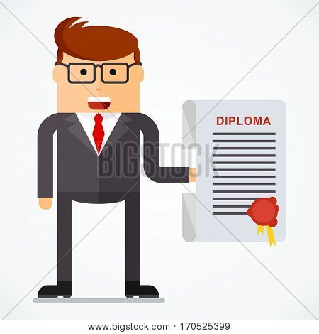 Successful businessman with diploma, business situation concept. Working in office, desire to succeed, teamwork and management. Flat vector cartoon illustration. Objects isolated on white background.