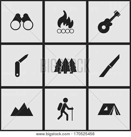 Set Of 9 Editable Travel Icons. Includes Symbols Such As Clasp-Knife, Field Glasses, Peak And More. Can Be Used For Web, Mobile, UI And Infographic Design.