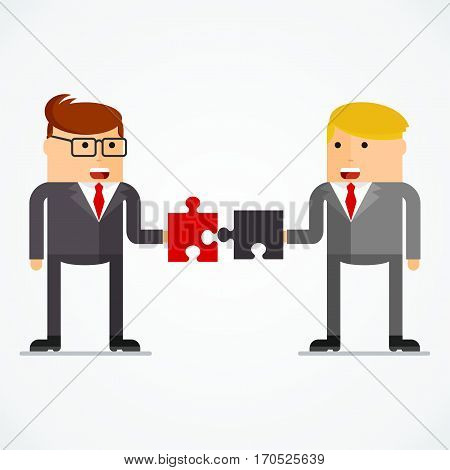 Successful businessman with puzzle, business situation concept. Working in office, desire to succeed, teamwork and management. Flat vector cartoon illustration. Objects isolated on white background.