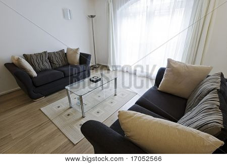 modern furnished living room with arched window