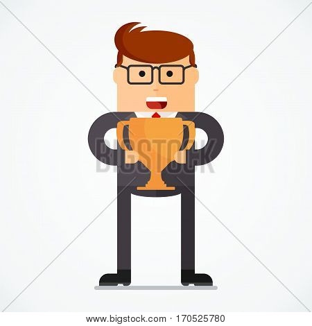 Successful businessman with cup, business situation concept. Working in office, desire to succeed, teamwork and management. Flat vector cartoon illustration. Objects isolated on white background.