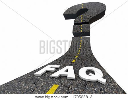 FAQ Frequently Asked Questions Road Answers 3d Illustration