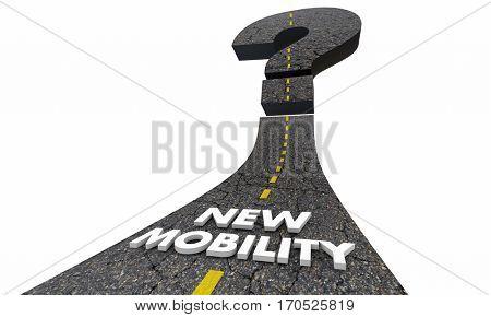 New Mobility Question Mark Road Future Transportation 3d Illustration