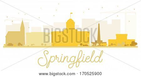 Springfield City skyline golden silhouette. Simple flat concept for tourism presentation, banner, placard or web site. Cityscape with landmarks