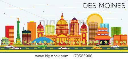 Des Moines Skyline with Color Buildings and Blue Sky. Business Travel and Tourism Concept. Image for Presentation Banner Placard and Web Site.