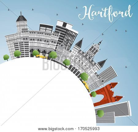 Hartford Skyline with Gray Buildings, Blue Sky and Copy Space. Business Travel and Tourism Concept with Historic Architecture. Image for Presentation Banner Placard and Web Site.