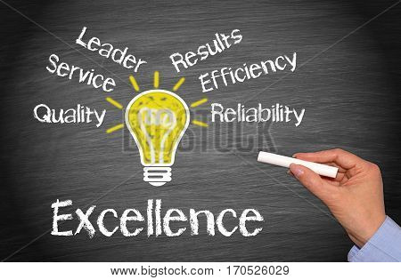 Excellence - Business concept with female hand and chalk