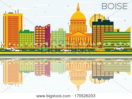 Boise Skyline with Color Buildings, Blue Sky and Reflections. Business Travel and Tourism Concept. Image for Presentation Banner Placard and Web Site.