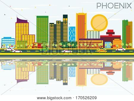 Phoenix Skyline with Color Buildings, Blue Sky and Reflection. Business Travel and Tourism Concept. Image for Presentation Banner Placard and Web Site.