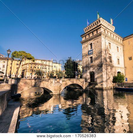 Riva del Garda Italy - January 6 2016: View of the Castle of Scaligero famous landmark of the Lake Garda Italy.