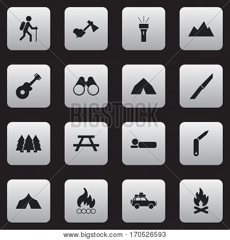 Set Of 16 Editable Trip Icons. Includes Symbols Such As Clasp-Knife, Lantern, Voyage Car And More. Can Be Used For Web, Mobile, UI And Infographic Design.