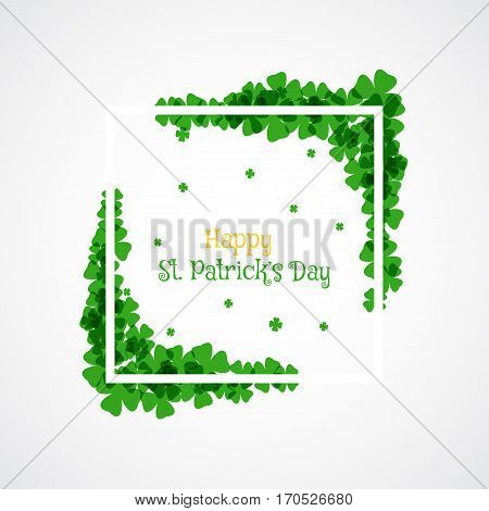 Vector Happy St. Patrick's Day poster on the white background with white frame green leaves and text.