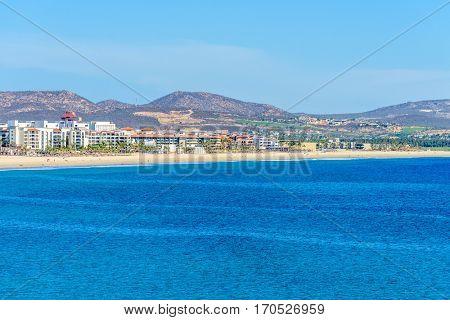 Mexico coastline with beautiful view over ocean in San Jose del Cabo.
