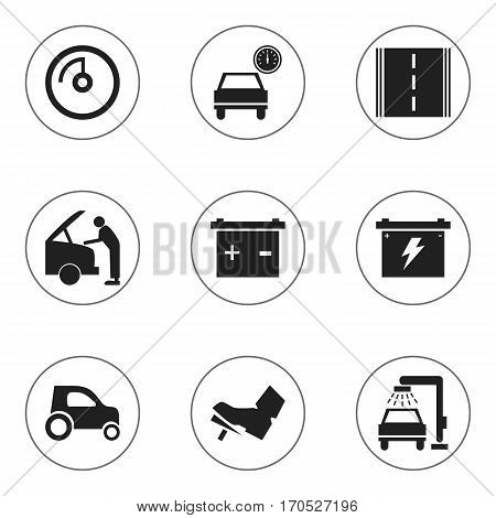 Set Of 9 Editable Vehicle Icons. Includes Symbols Such As Vehicle Wash, Treadle, Highway And More. Can Be Used For Web, Mobile, UI And Infographic Design.