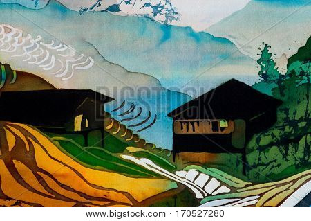 Houses on rice terraces fragment hot batik handmade abstract surrealism art on silk background texture
