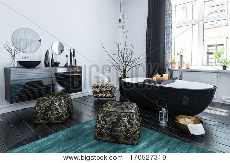 Stylish Oriental style bathroom with black lacquer decor, a boat shaped bathtub and leather pouffes with blue accent floor rug, 3d rendering