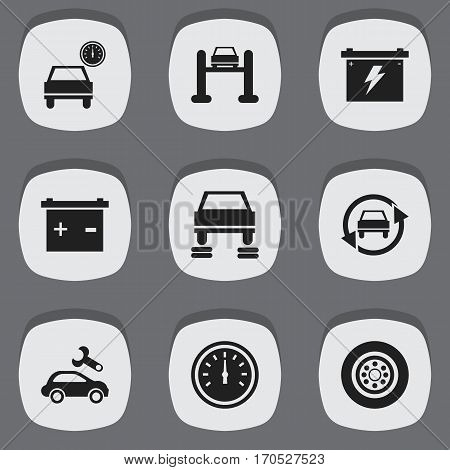 Set Of 9 Editable Traffic Icons. Includes Symbols Such As Tire, Auto Repair, Auto Service And More. Can Be Used For Web, Mobile, UI And Infographic Design.