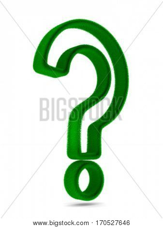Sign question from grass on white background. Isolated 3D image