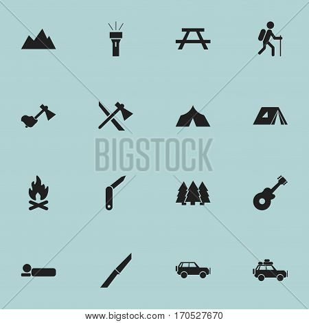 Set Of 16 Editable Travel Icons. Includes Symbols Such As Pine, Peak, Bedroll And More. Can Be Used For Web, Mobile, UI And Infographic Design.