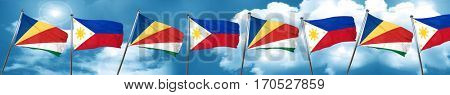 seychelles flag with Philippines flag, 3D rendering