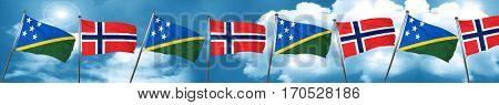 Solomon islands flag with Norway flag, 3D rendering