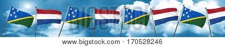 Solomon islands flag with Netherlands flag, 3D rendering