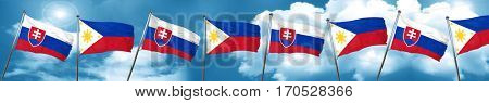 Slovakia flag with Philippines flag, 3D rendering