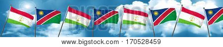 Tajikistan flag with Namibia flag, 3D rendering