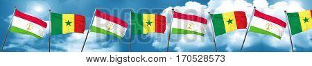 Tajikistan flag with Senegal flag, 3D rendering