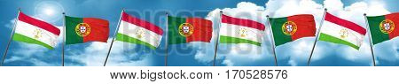 Tajikistan flag with Portugal flag, 3D rendering