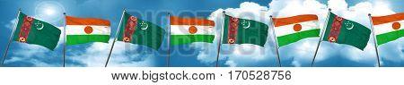 Turkmenistan flag with Niger flag, 3D rendering