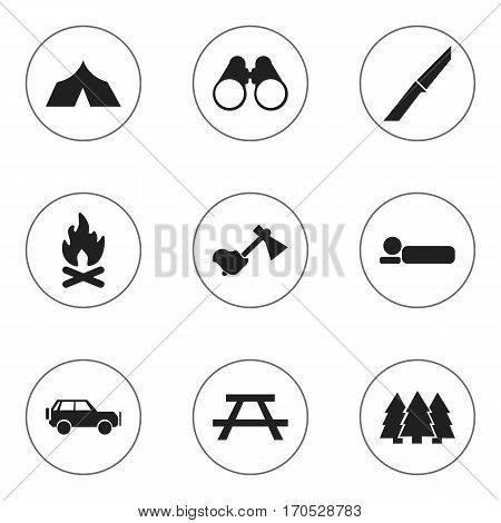 Set Of 9 Editable Camping Icons. Includes Symbols Such As Ax, Sport Vehicle, Fever And More. Can Be Used For Web, Mobile, UI And Infographic Design.