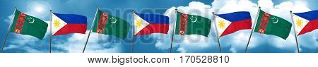 Turkmenistan flag with Philippines flag, 3D rendering
