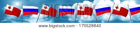 Tonga flag with Russia flag, 3D rendering