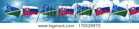 Solomon islands flag with Slovakia flag, 3D rendering