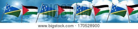 Solomon islands flag with Palestine flag, 3D rendering