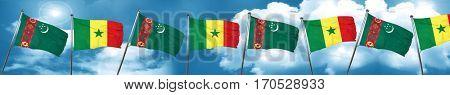 Turkmenistan flag with Senegal flag, 3D rendering
