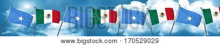Somalia flag with Mexico flag, 3D rendering