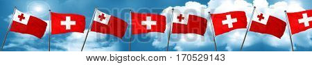 Tonga flag with Switzerland flag, 3D rendering