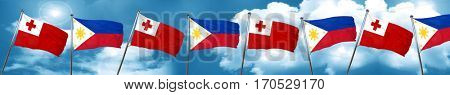 Tonga flag with Philippines flag, 3D rendering