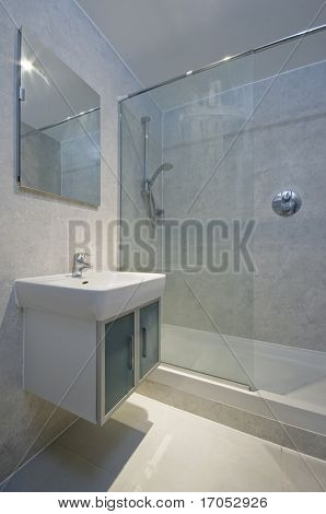 detail of an en-suite bathroom with shower corner
