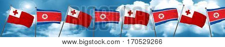 Tonga flag with North Korea flag, 3D rendering