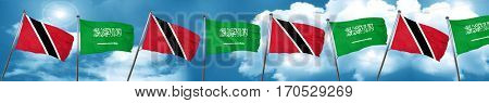 Trinidad and tobago flag with Saudi Arabia flag, 3D rendering