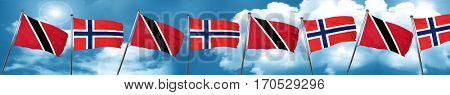 Trinidad and tobago flag with Norway flag, 3D rendering