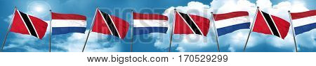 Trinidad and tobago flag with Netherlands flag, 3D rendering